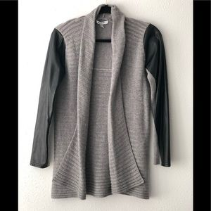 DKNYC gray sweater with faux leather sleeves